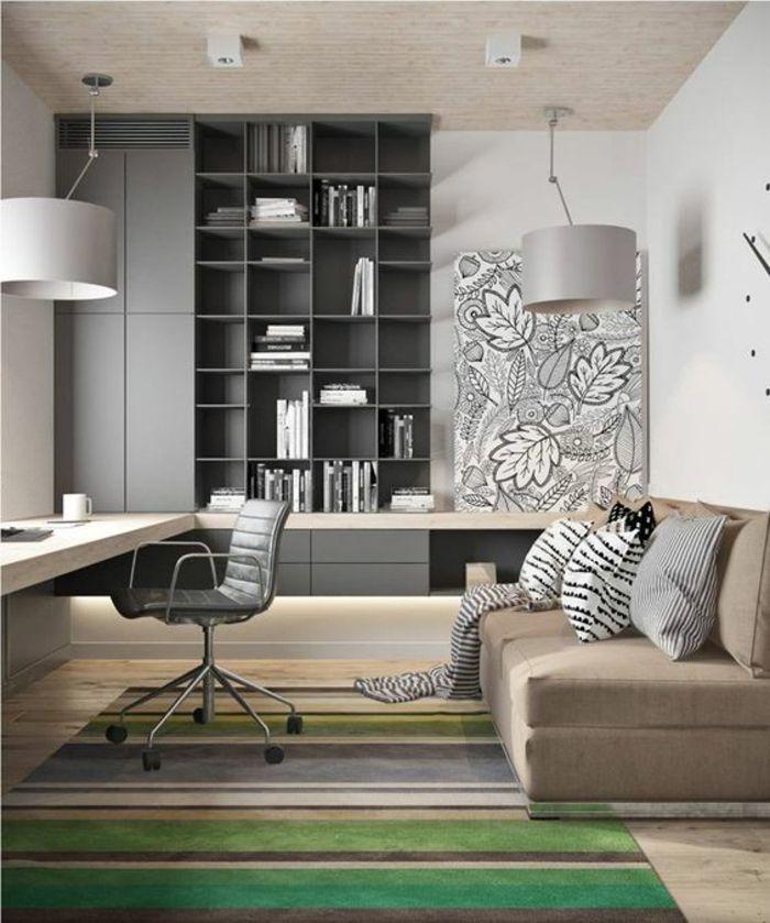chambre parentale avec espace de travail bureau suspendu en beige deux luminaires avec des - Espace Bureau Dans Chambre Parentale