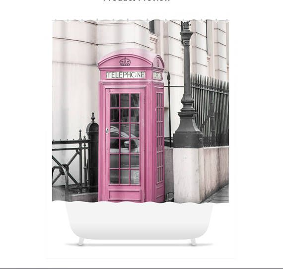 Pink Telephone Booth London Shower Curtain Shower Liner Pink