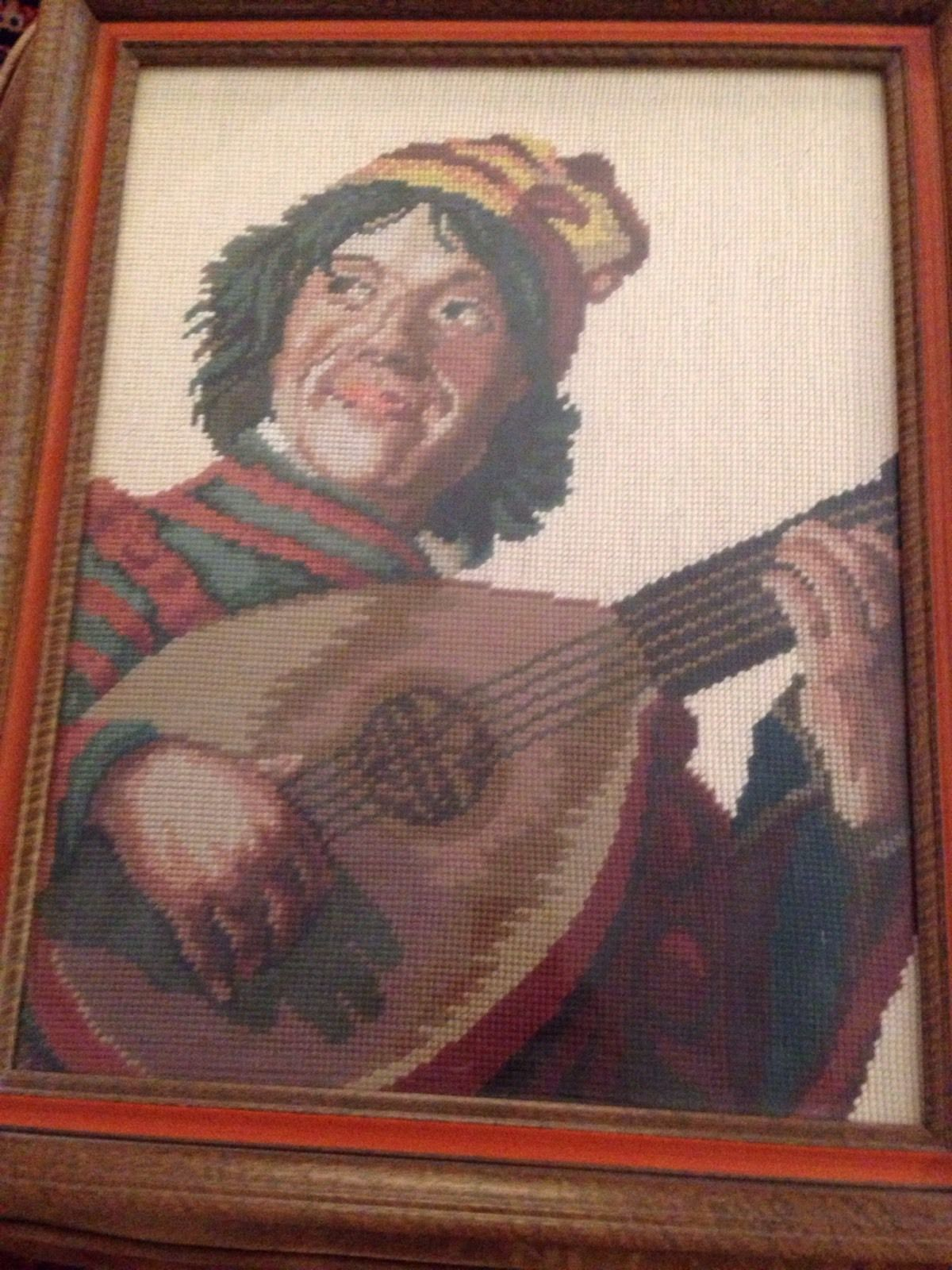 """Vintage """" The JESTER"""" Bucilla Needlepoint Completed And Framed 18""""x13"""" • $50.00"""