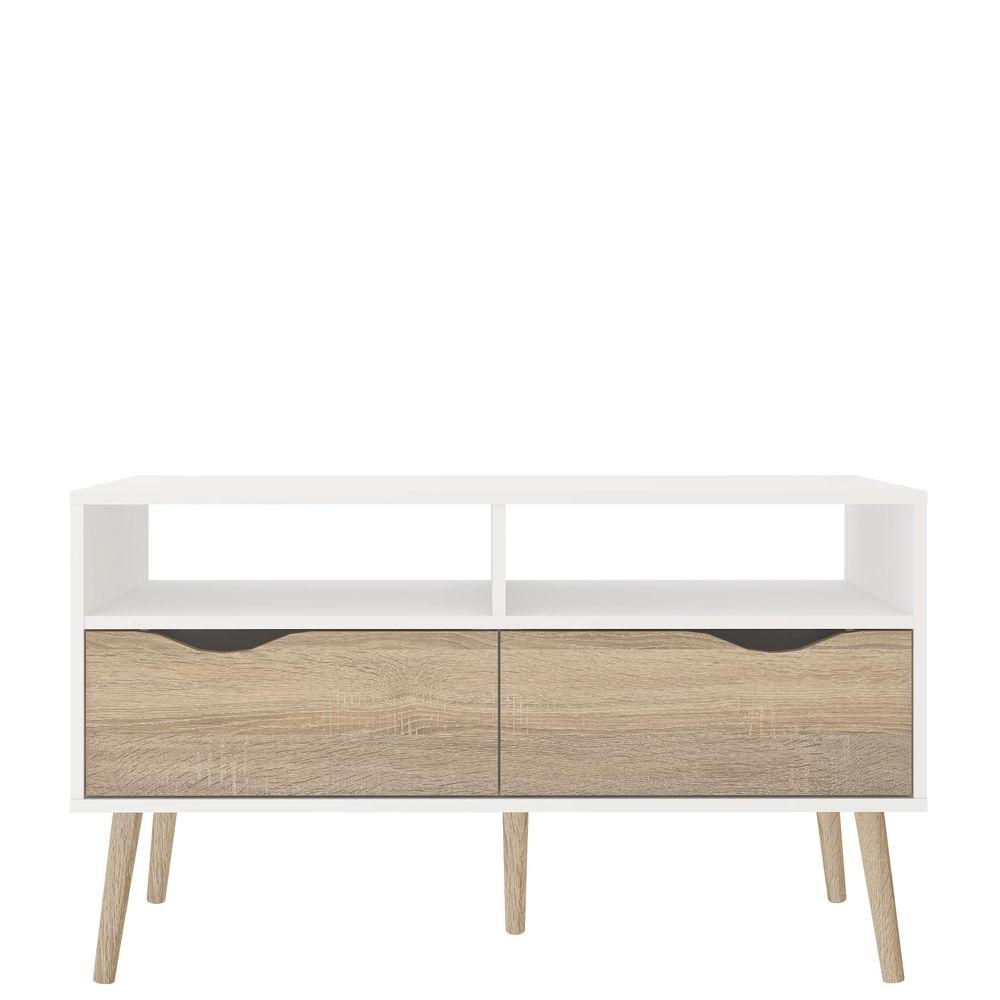 Bezaubernd Tv Tisch Beste Wahl Stockholm Mit Zwei Schüben Weiß Eiche Struktur