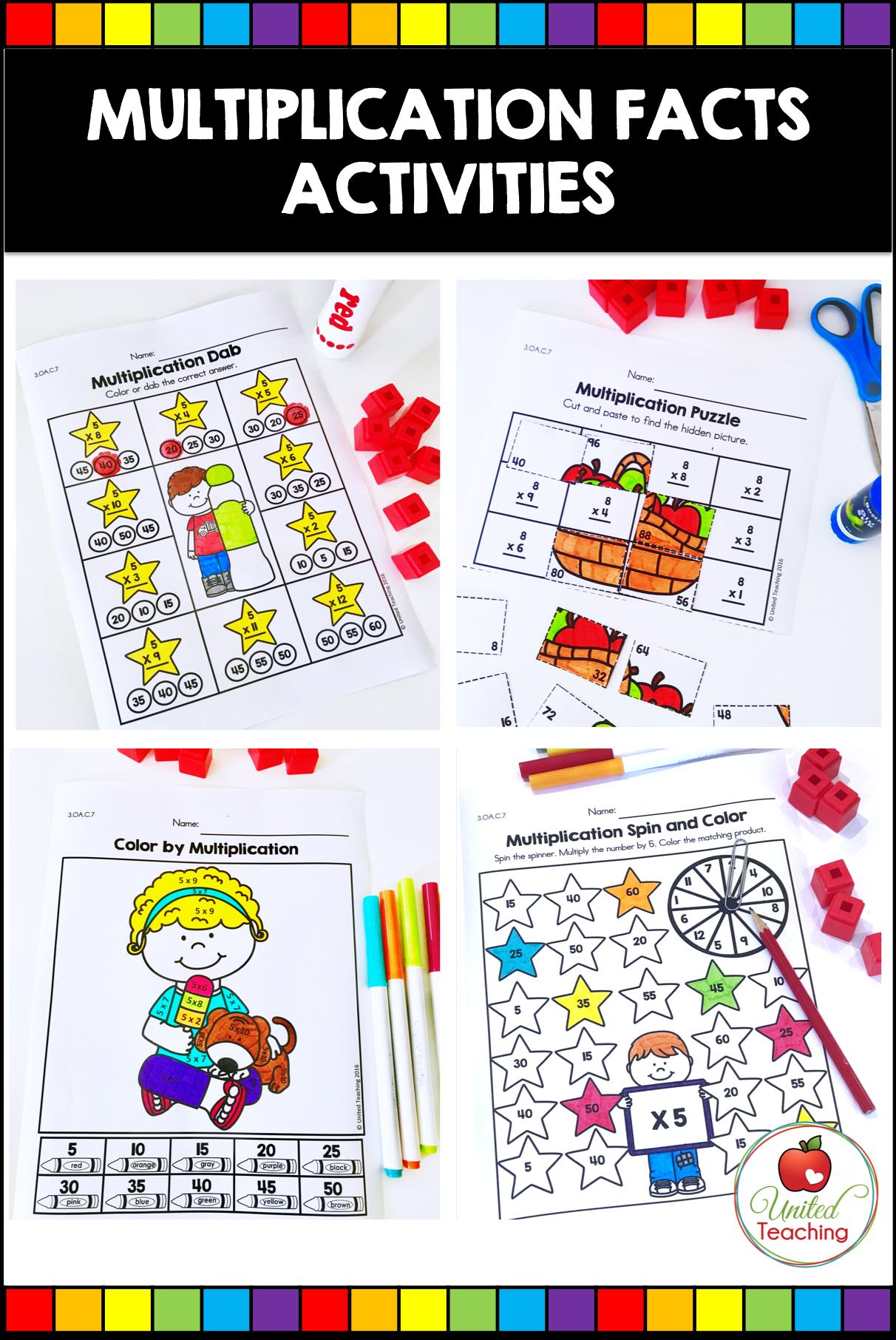 Multiplication Worksheets Bundle Distance Learning