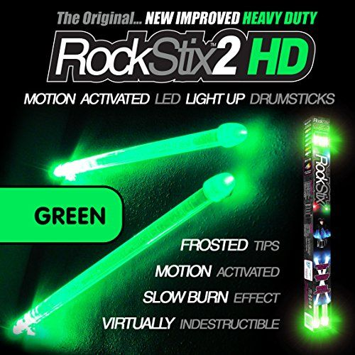 Rockstix 2 Hd Green Bright Led Light Up Drumsticks With Fade Effect Set Your Gig On Fire Green Roc Light Up Drumsticks Motion Activated Light Bright Led Lights