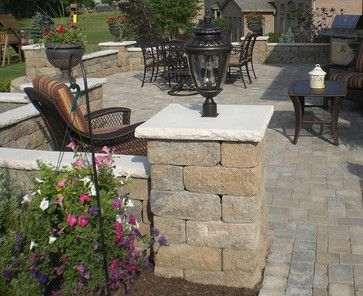Patio Wall With Post Lights Backyard Paver Patio With