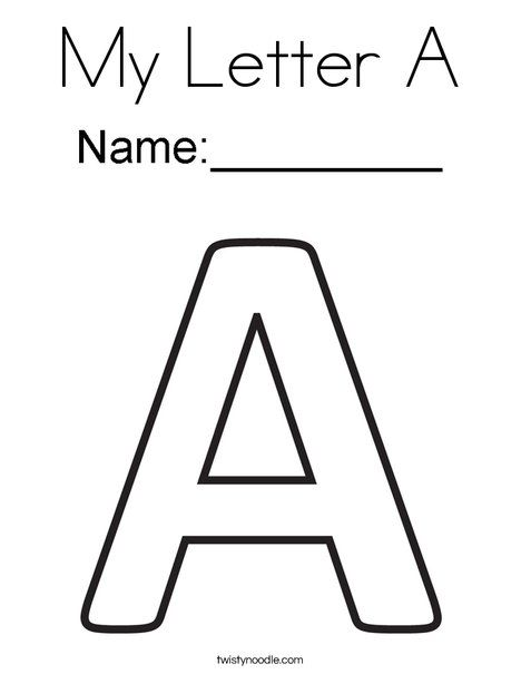 My letter a coloring page twisty noodle letter for Twisty noodle coloring pages letters