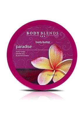 760780 - Body Blends Body Butter - Paradise. Get added protection and super hydration with this rich, thick crème. Infused with omega 6, vitamins A and E, and oleic and linoleic essential fatty acids.