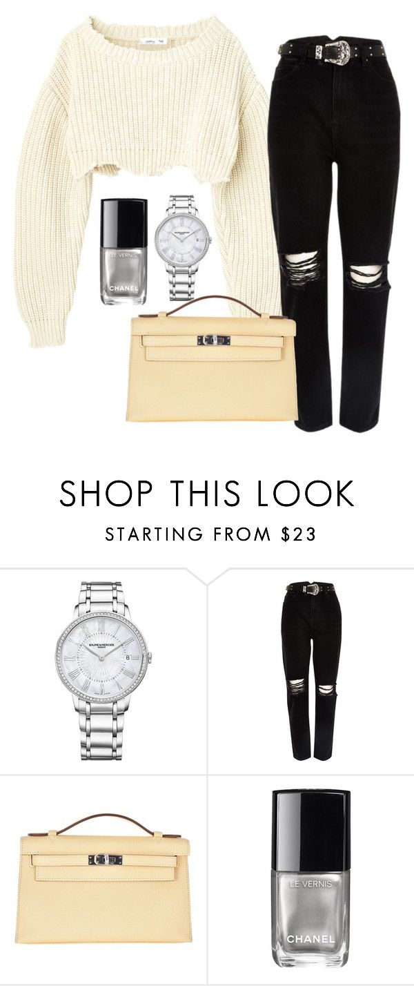 """""""Untitled #505"""" by alratajalsayegh ❤ liked on Polyvore featuring Baume & Mercier, River Island, Hermès and Chanel"""