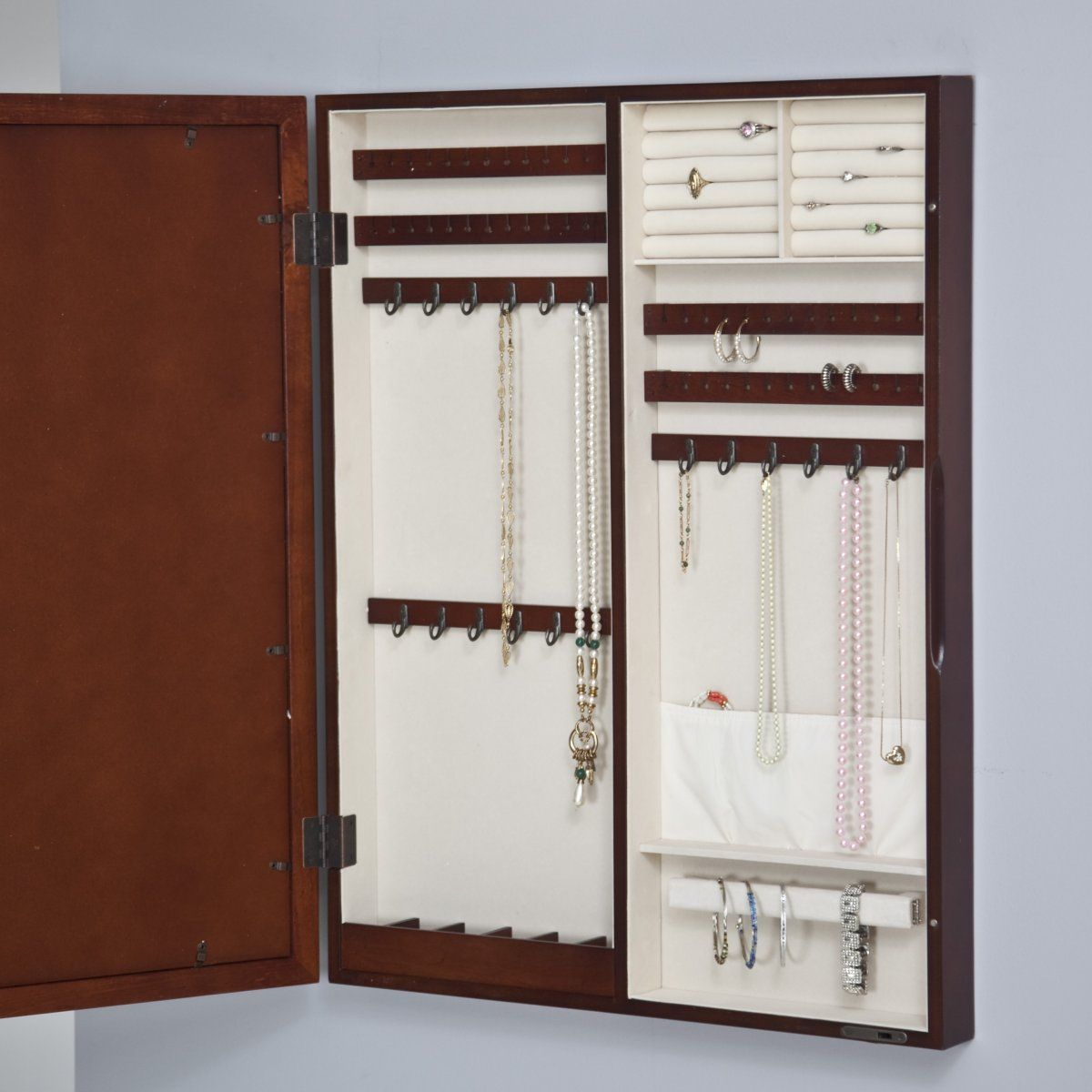 Collage Photo Frame Wooden Wall Locking Jewelry Armoire Because I