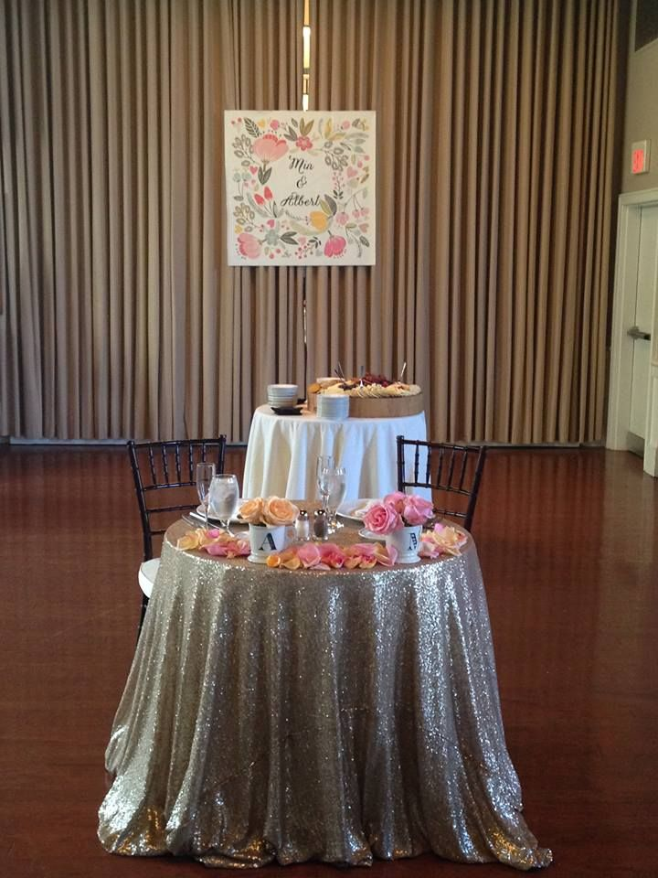 Blinged Out Sweetheart Table At Steeple Hall Newburyport Wedding Http Www Djroncarpenito Mission Oak Grill Ma Venue