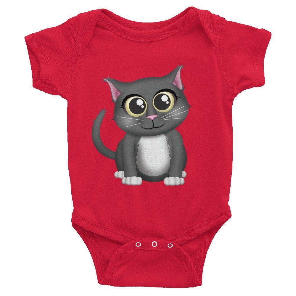 Cute Gray Cat - Infant short sleeve one-piece shirt