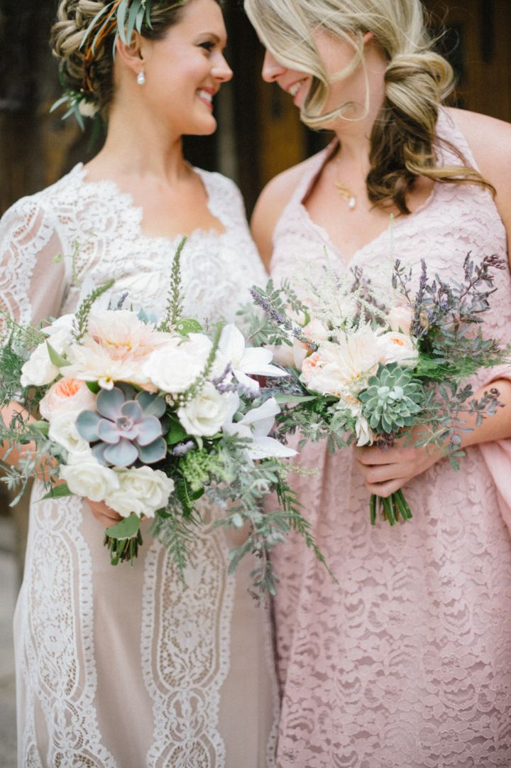 Blush pink bridesmaid and lace vintage inspired wedding gown | fabmood.com #wedding #rusticwedding #weddingstyle #ido #weddinginspiration