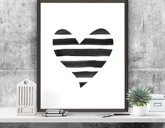 Heart Art Print Heart Poster Instant Download Love by ATArtDigital