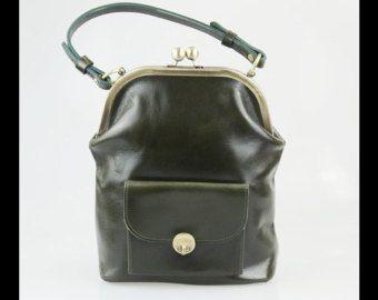 Leather Handbag Gwen in black vintage leather bag ladies