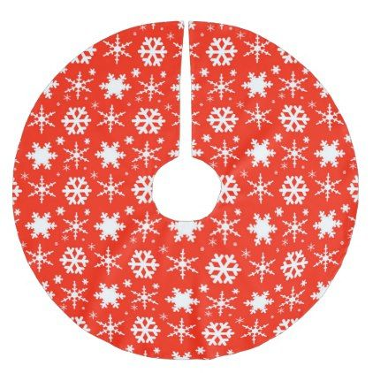 Snowflakes Red Brushed Polyester Tree Skirt - Xmas ChristmasEve