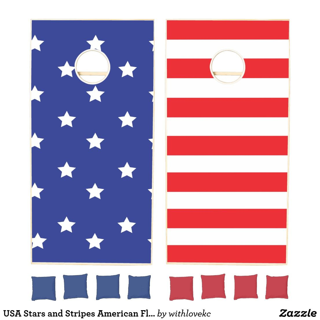 Usa Stars And Stripes American Flag Red White Blue Cornhole Set Zazzle Com Cornhole Set Red And White Red White Blue