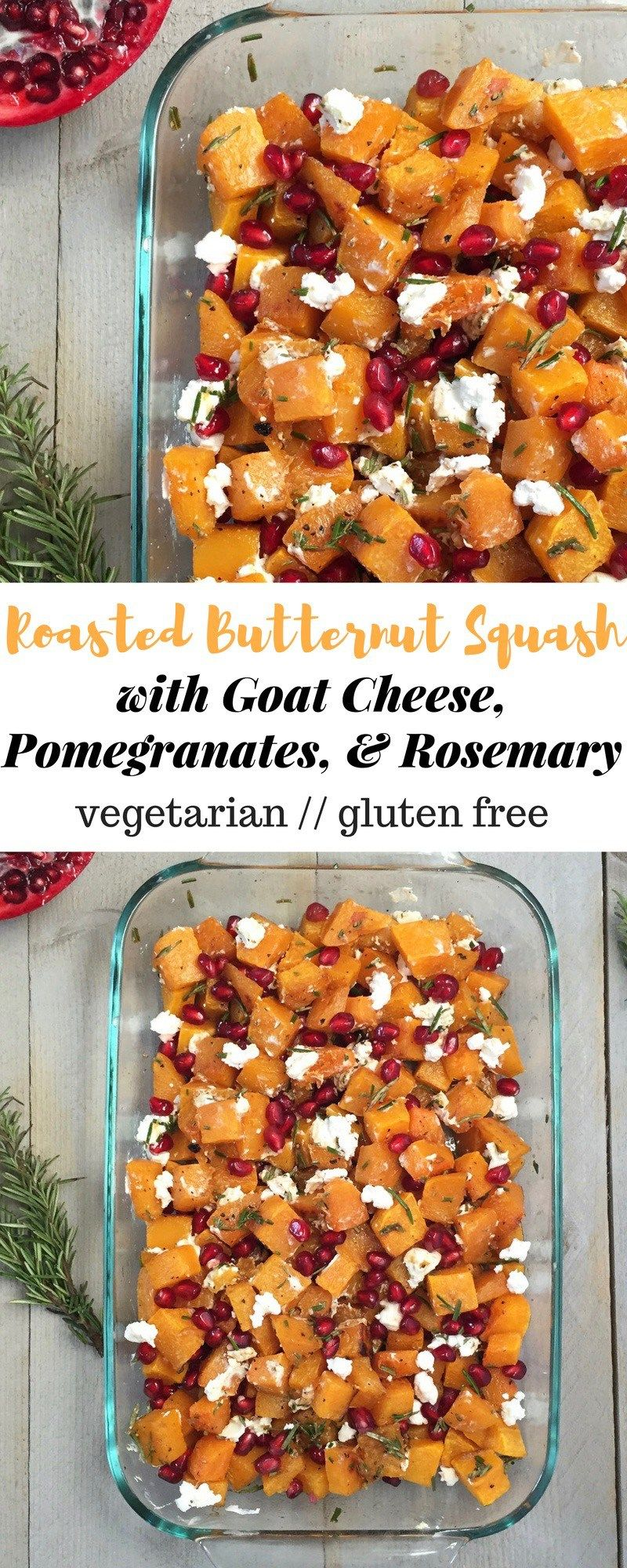 Roasted butternut squash combined with goat cheese, pomegranates, and rosemary make this simple gluten free and vegetarian dish a star at your holiday gatherings - Eat the Gains