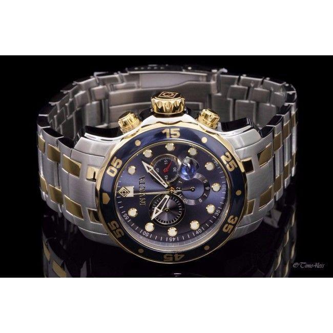 d41d1796dcd Relógio masculino Invicta 0077 Prata e dourado Pro Diver Banhado a ouro 18  k fundo Azul