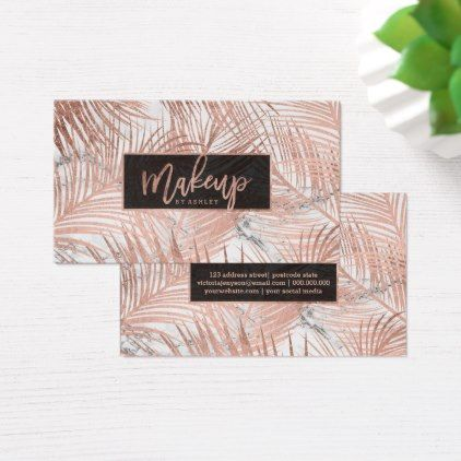 Makeup typography rose gold palm tree leaf marble business card makeupartist businesscards makeup typography rose gold palm tree leaf marble business card colourmoves