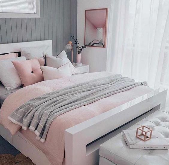 Pink White And Grey Girls Bedroom Pastel Bedroom Decor Inspiration Small Bed Pink Bedroom Decor Girls Bedroom Grey Pastel Bedroom