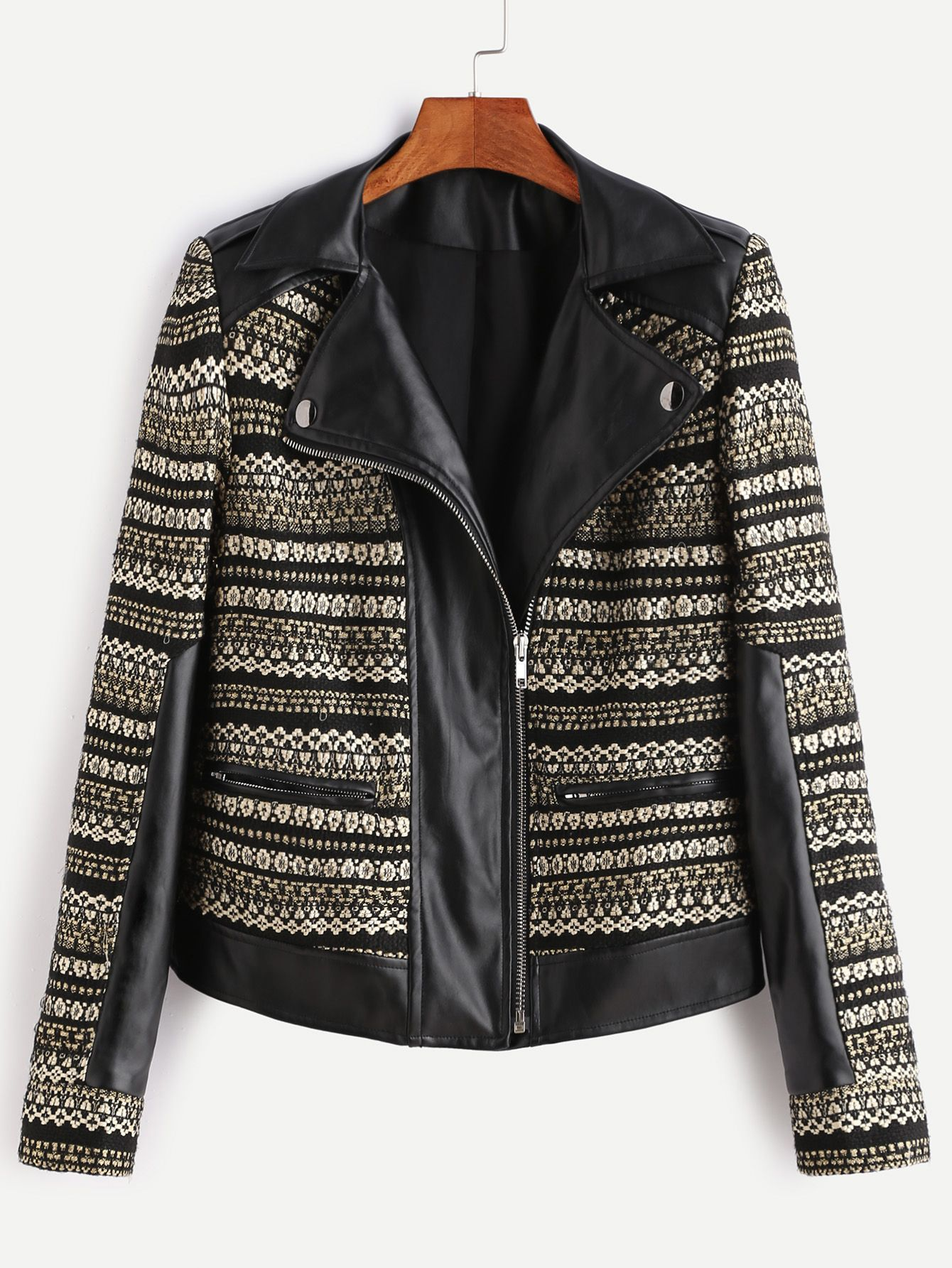 Shop Black And Gold Asymmetrci Zip Jacquard Biker Jacket