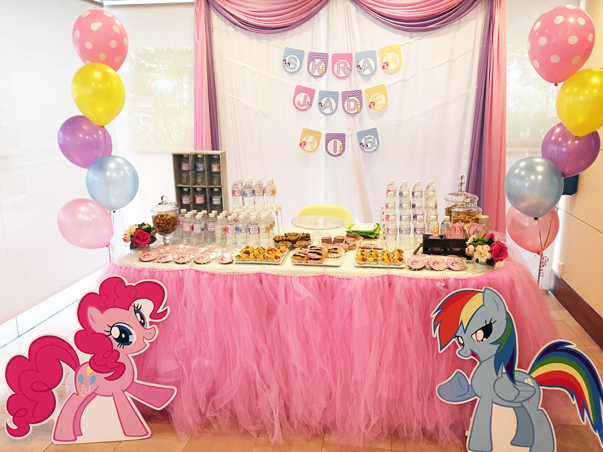 My Little Pony Dessert Table With Tulle Skirting Little Pony
