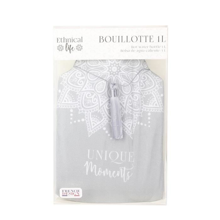 THE HOME DECO FACTORY Bouillotte – Avec pompon – 1 L – Gris