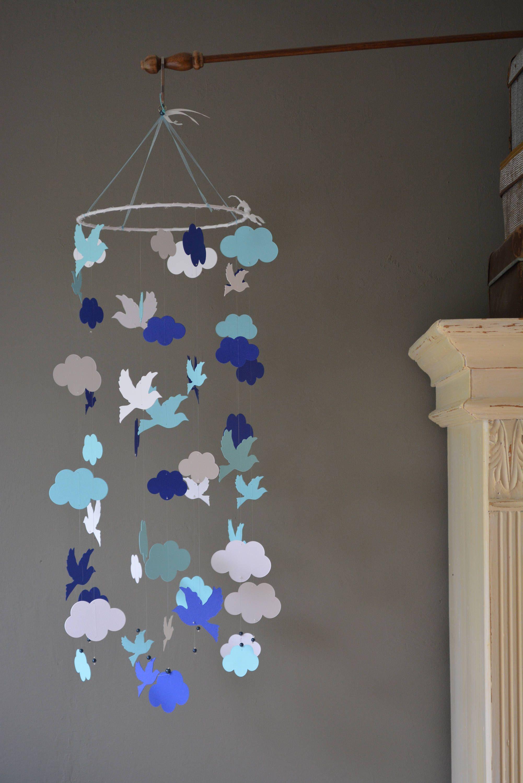 Bird Mobile Nursery Baby Made From White Navy Blue And Card Stock Handmade Decor Or Gift Door Siergoed