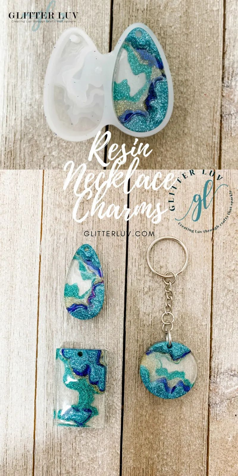 Make your own agate inspired DIY Resin Necklaces with this tutorial and molds that make it easy via GlitterLuv.com #resin #epoxyresin #resincharms #glittercrafts