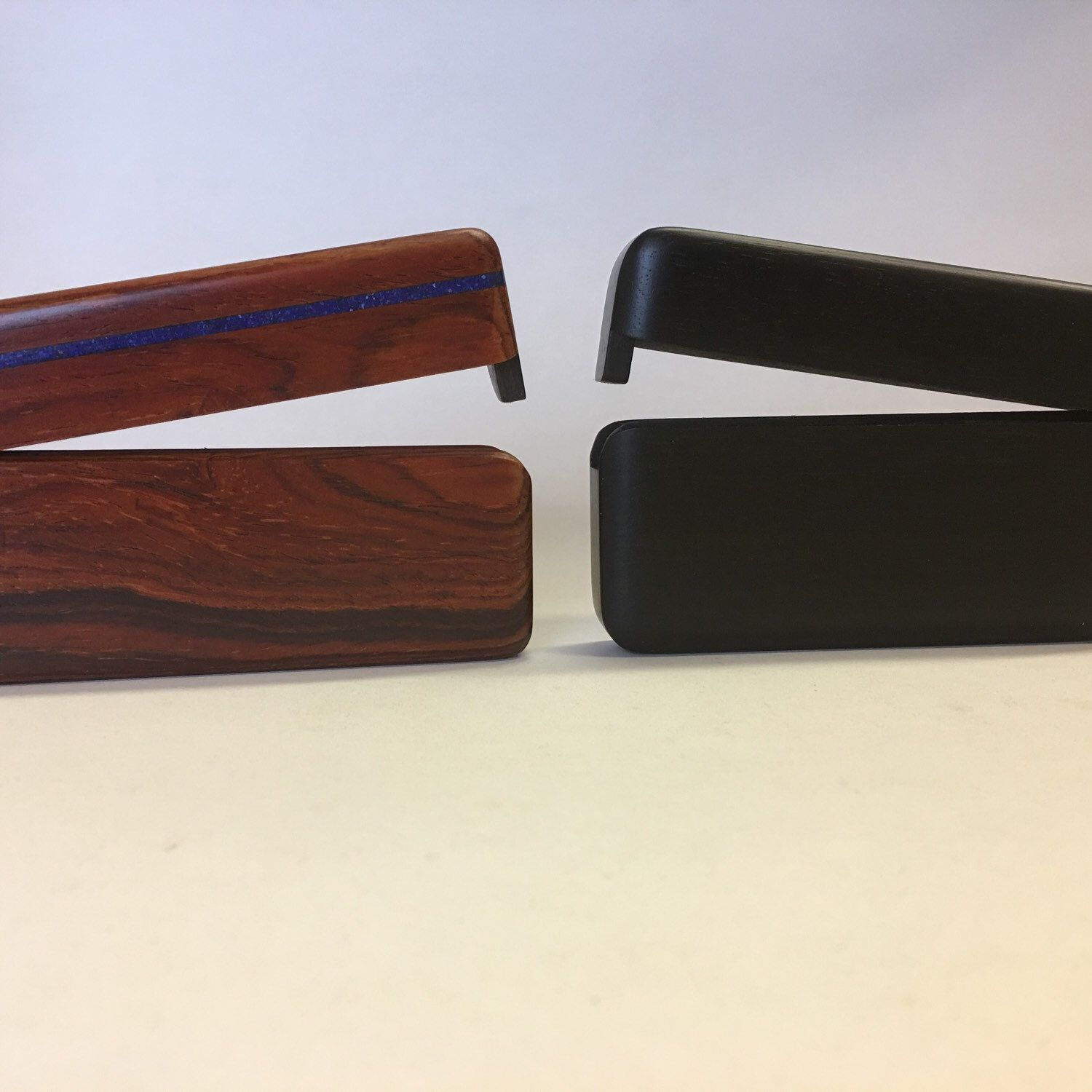Cocobolo With Lapis Inlay Left Ebony On The Right Business Card