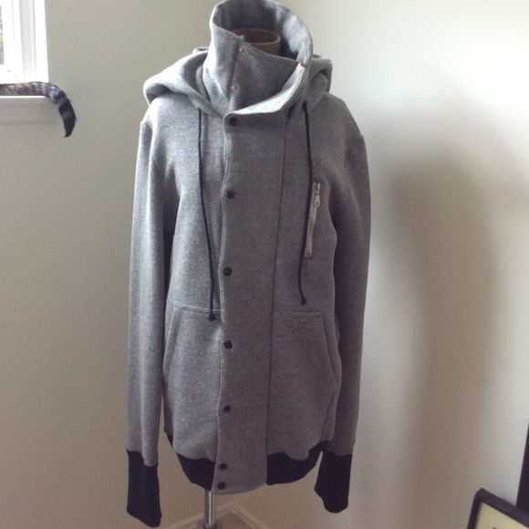 Degaine Coat Degaine jacket. Grey, size small, 100% cotton.  Very cool style.....hoodie, high collar, extra long sleeves.  Sample , one of a kind, not tagged.  Very warm, fleece lined. Degaine Jackets & Coats