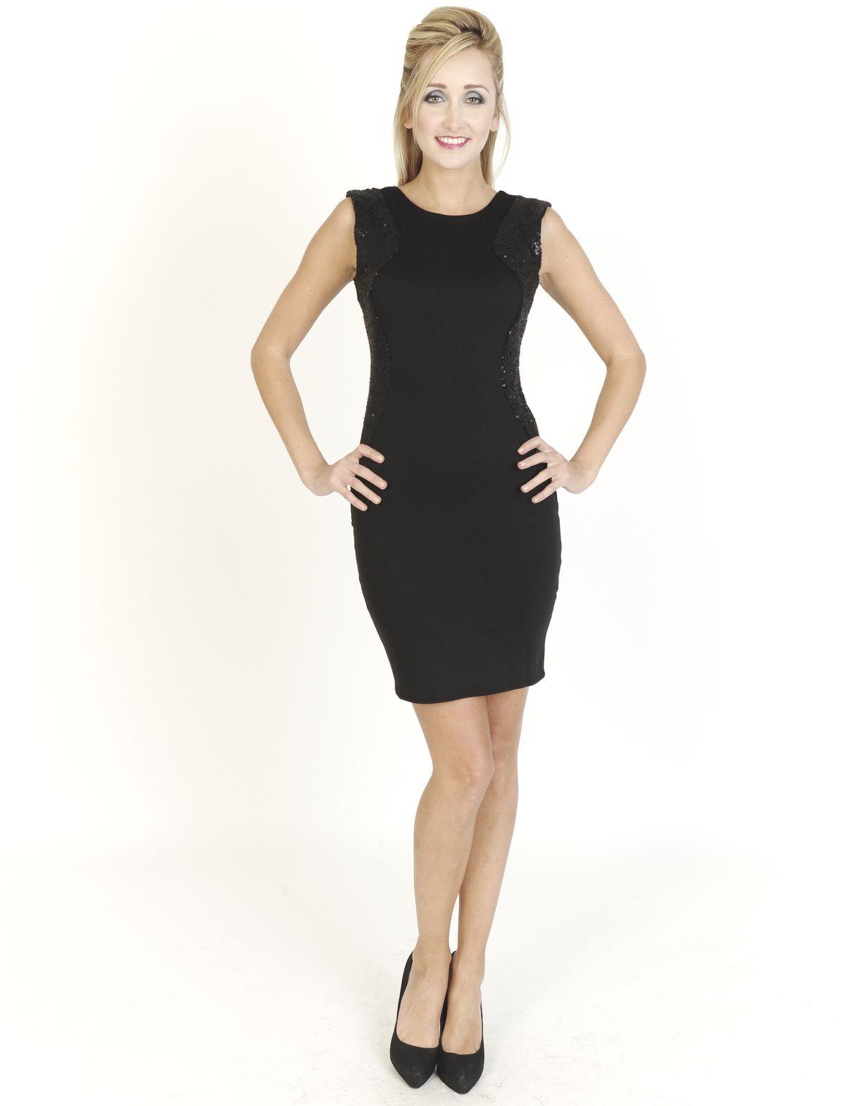Black Dresses - Jersey Sequin Shift Black Dress - http://www.blackdresses.co.uk