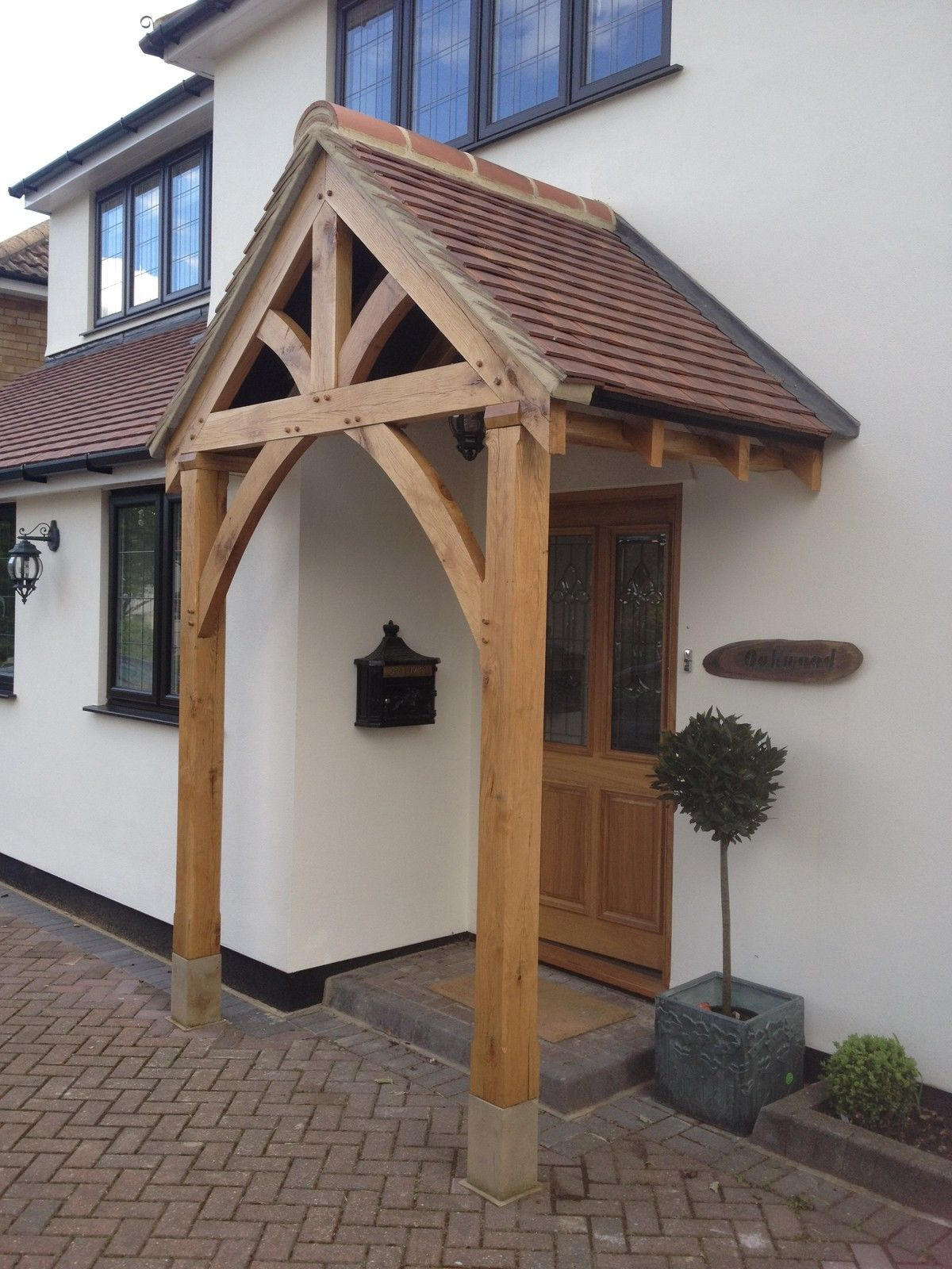 Bespoke green oak porch front door canopy handmade in for Front door patio ideas