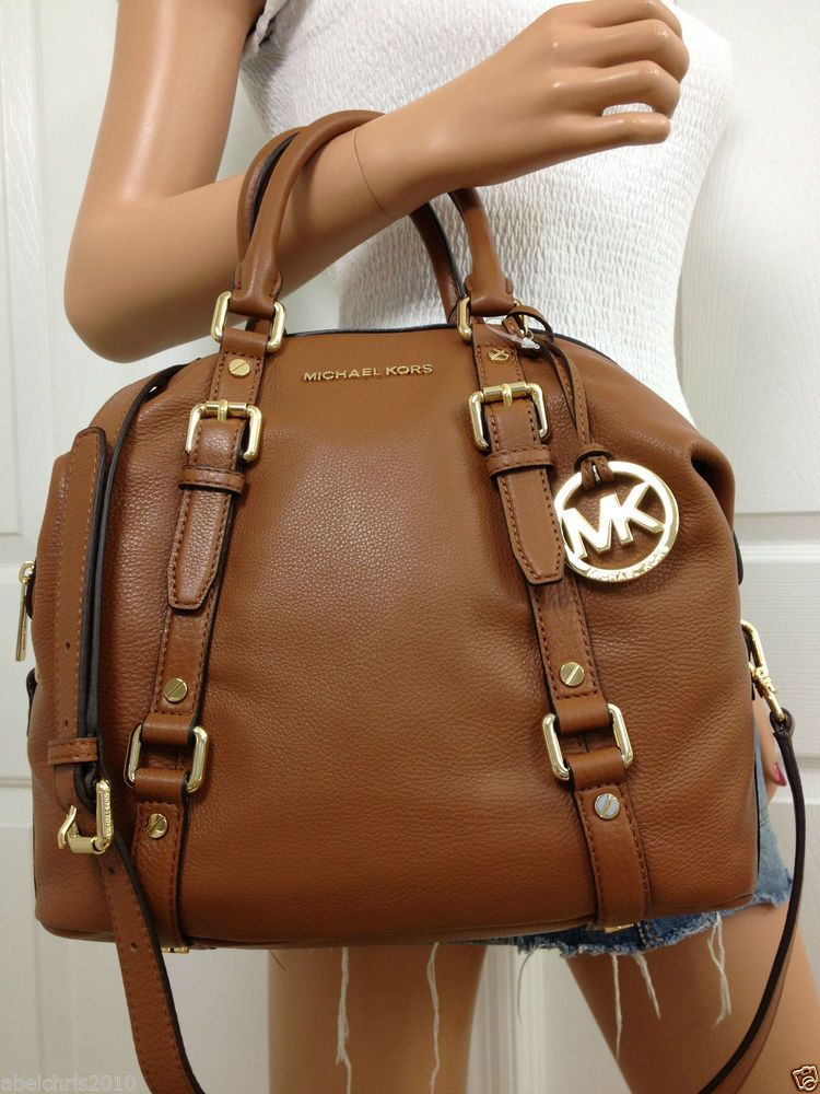 Nwt Michael Kors Brown Medium MK Bedford Leather Satchel Bowling Shoulder  Bag a76a95895a969