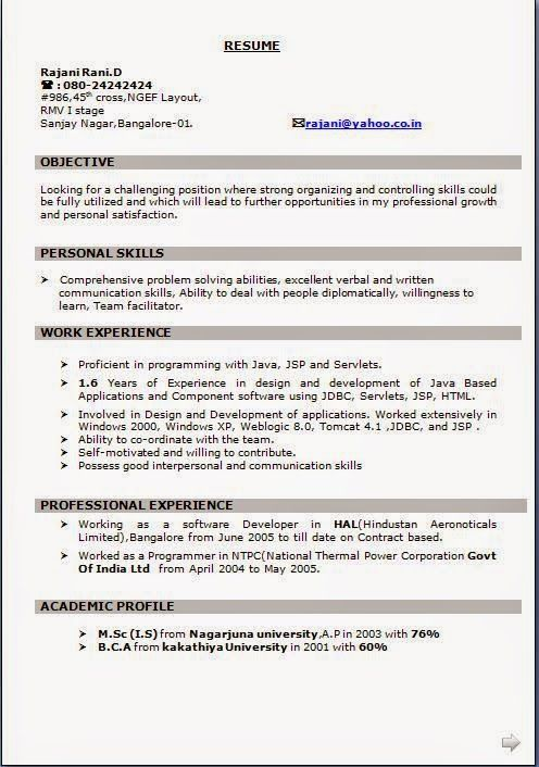 free download resume format in word Sample Template Example of