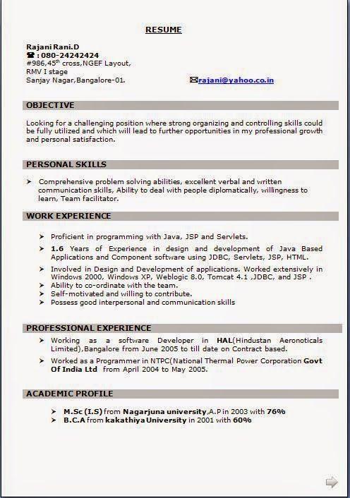 free download resume format in word Sample Template Example of - free download resume format