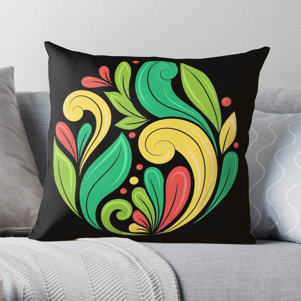 Colorful Medallion Leaves Abstract Leaf Illustration Throw Pillow By Annartlab Throw Pillows Pillows Leaf Illustration