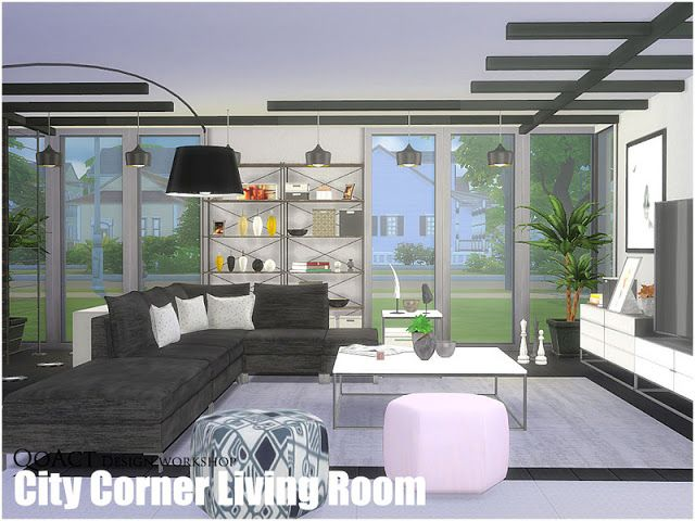 Sims 4 CC\'s - The Best: City Corner Living Room by QoAct ...