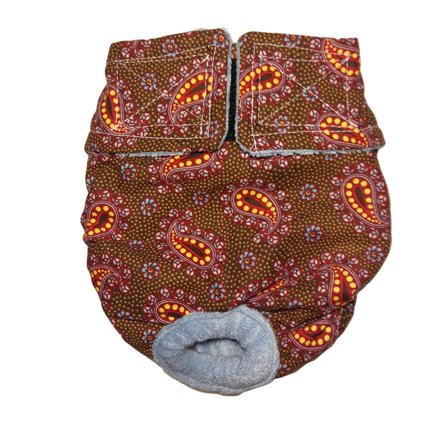 Cat Diapers Made in USA Copper Paisley Washable Cat