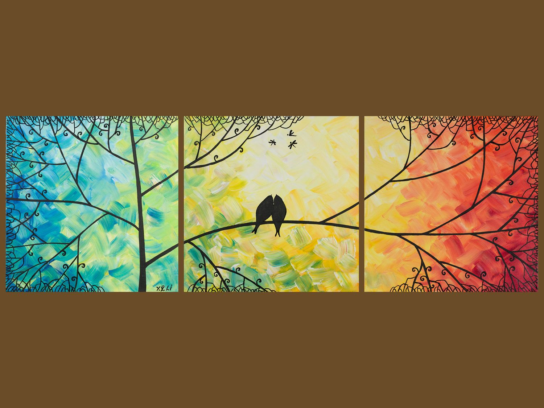 Original Modern Abstract Heavy Texture Impasto Love Birds Dragonfly ...