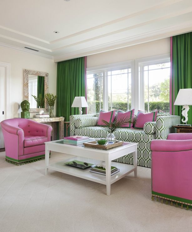 Anne Hepfer Designs Pink And Green Living Room With Tray Ceiling As Well