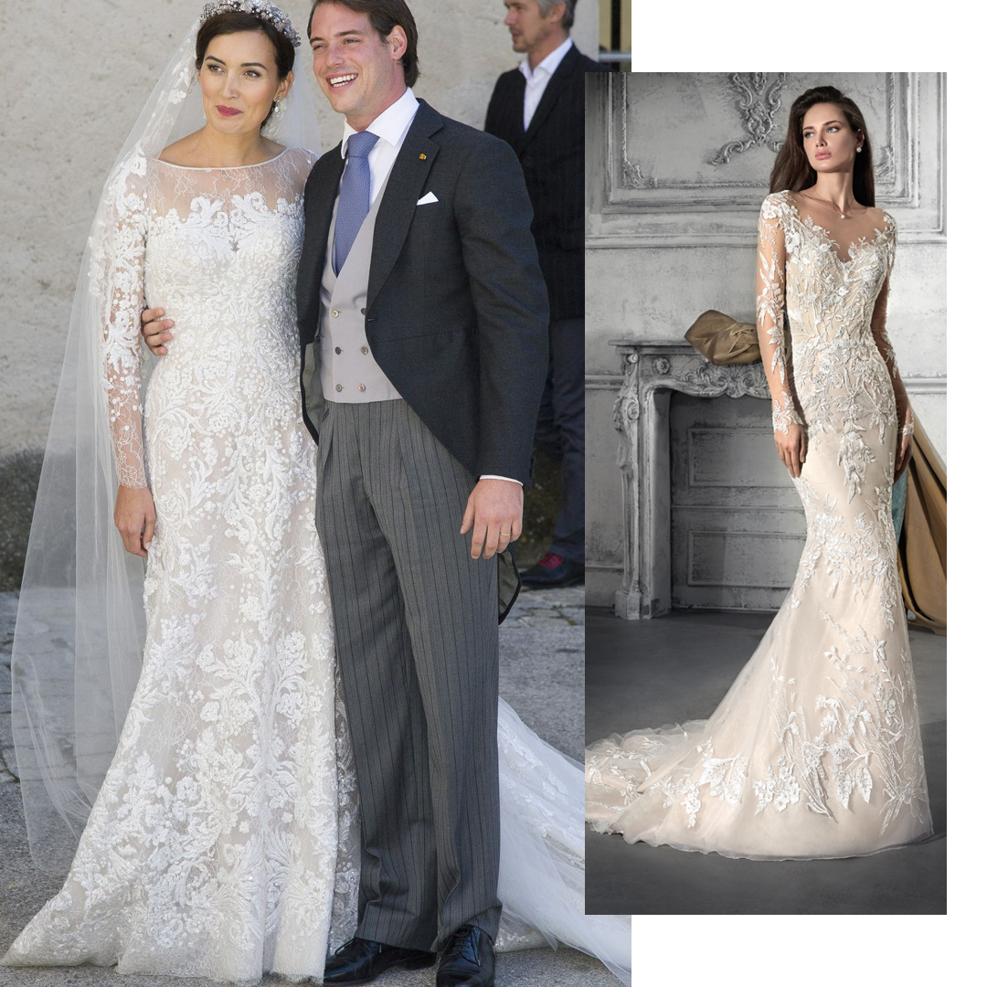 Princess Claire Of Luxembourg This Royal Wore A Chic Eliesaab Creation Which Reminds Us Of This Modern Wedding Dresses Lace Wedding Dresses Demetrios Bride [ 1080 x 1080 Pixel ]