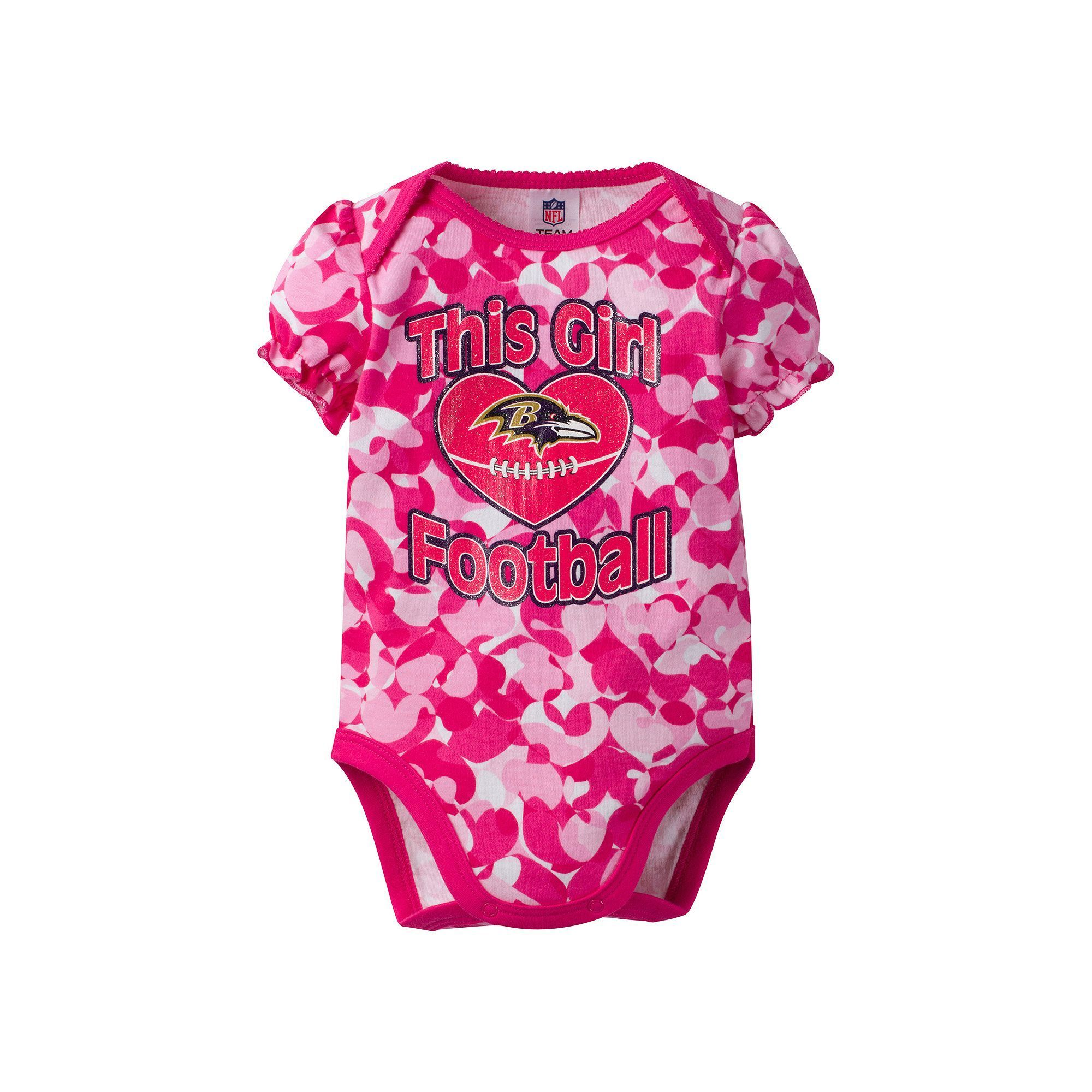 92fb5d0bd7c8 Baby Girl Baltimore Ravens Loves Football Camo Bodysuit
