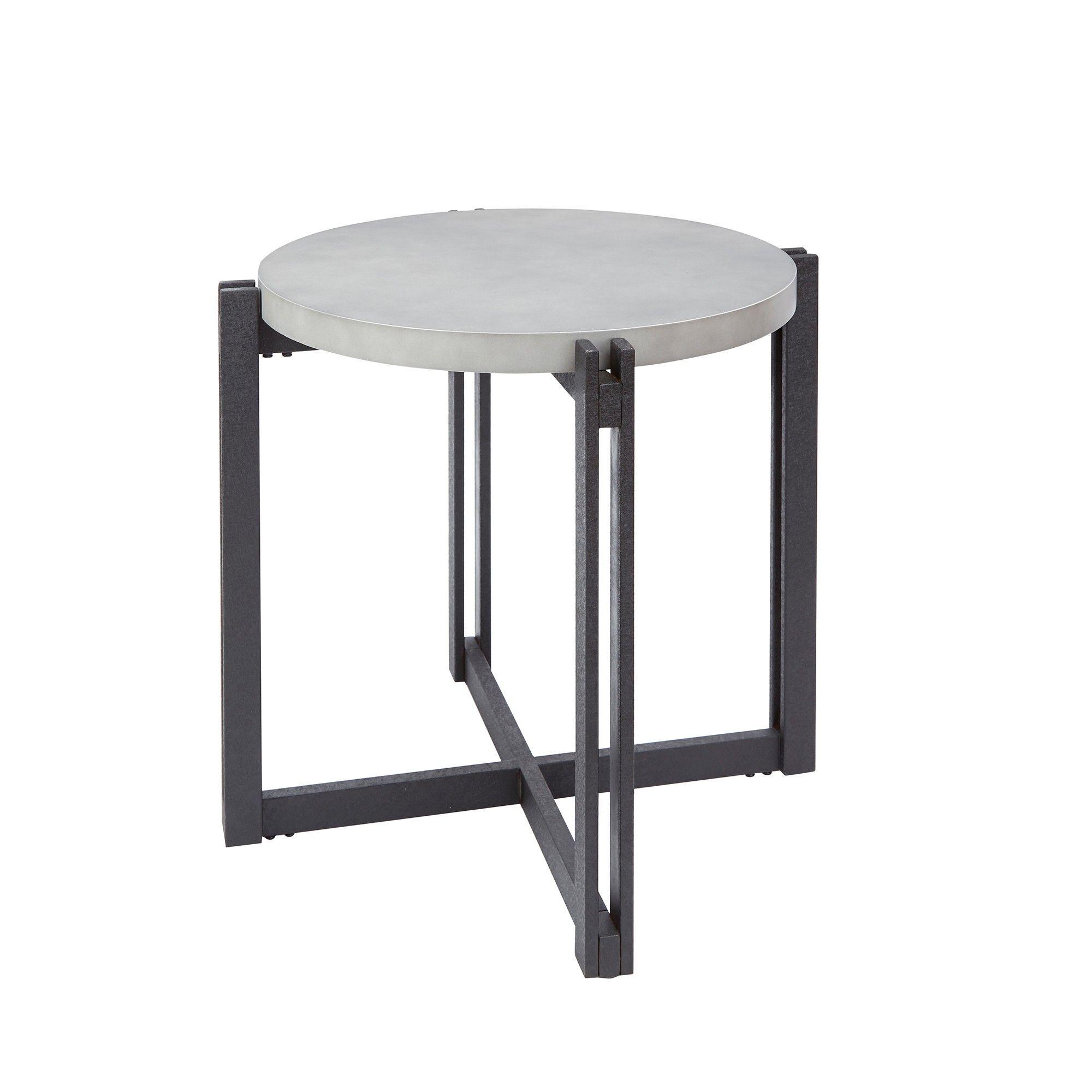 Silverwood Dakota End Table With Round Concrete Fish Top Gray