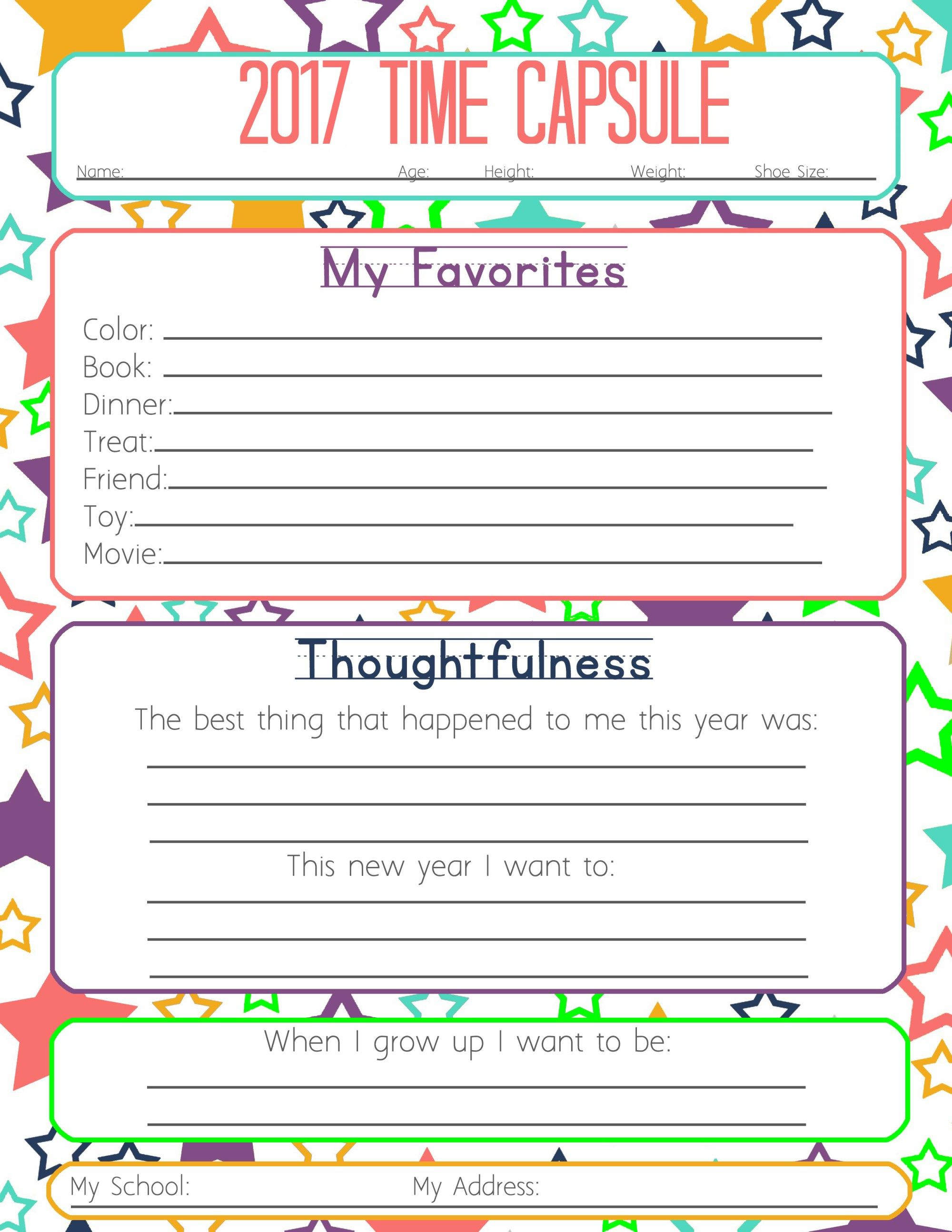New Years Resolution & Time Capsule Worksheets and Activities for Kids