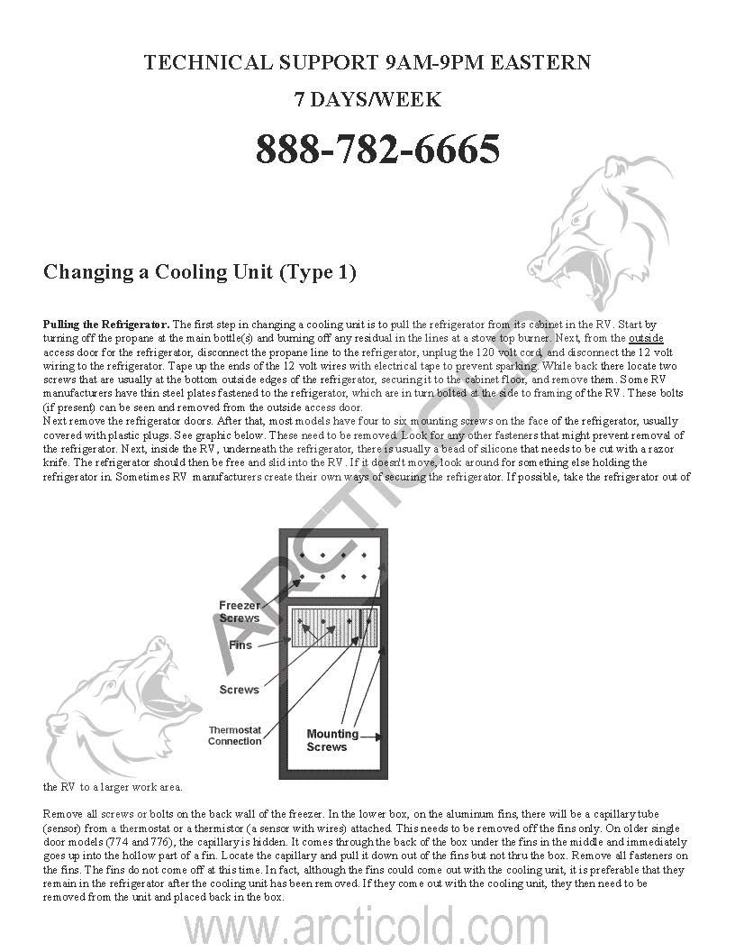 Page 1 Type 1 Install Instructions For Norcold Replacement