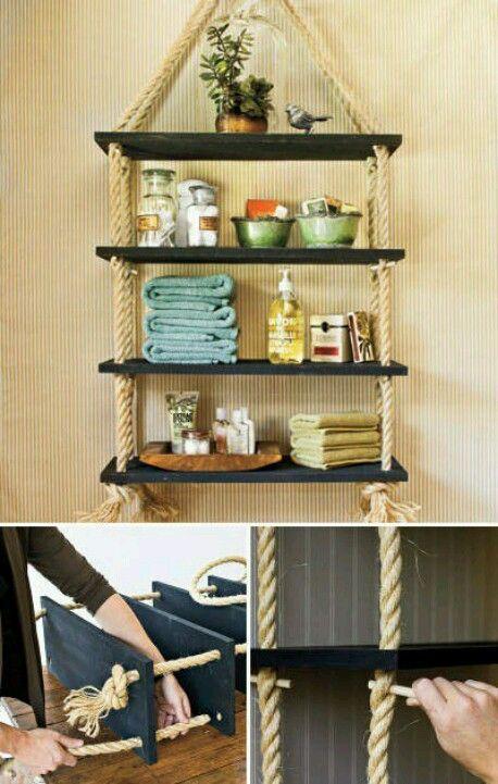 Nautical Shelf For Bathroom Organization Bathroom Ideas Diy Hanging Shelves Rope Shelves Home Decor