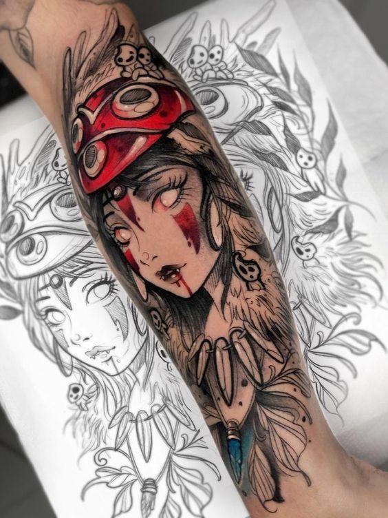 Photo of Idea de tatuaje de princesa Mononoke con manga de cuarto hecha por Brandon Bec | www.otziapp.c …