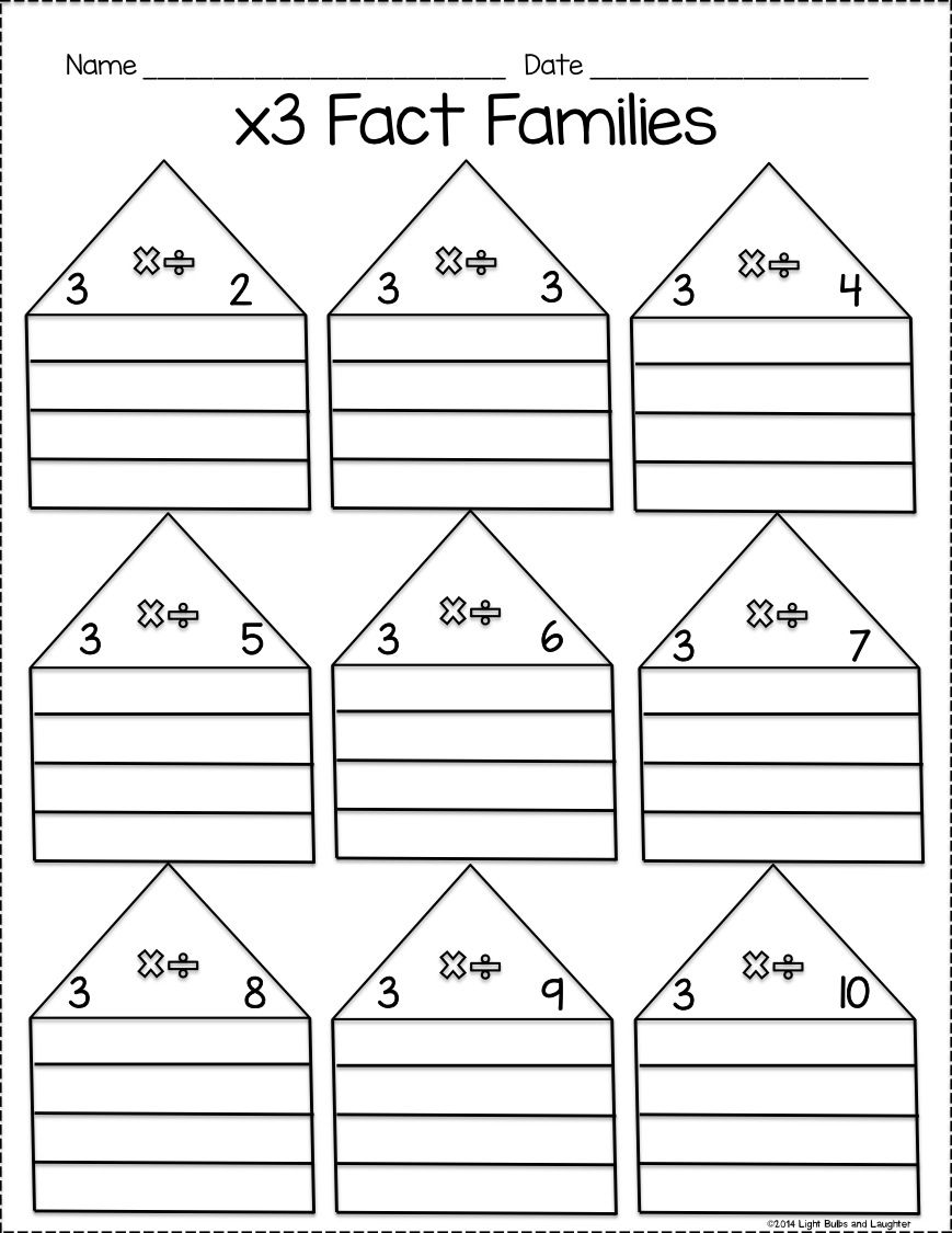 worksheet Fact Triangles Multiplication And Division Worksheets multiplication and division fact family practice pack light bulbs laughter