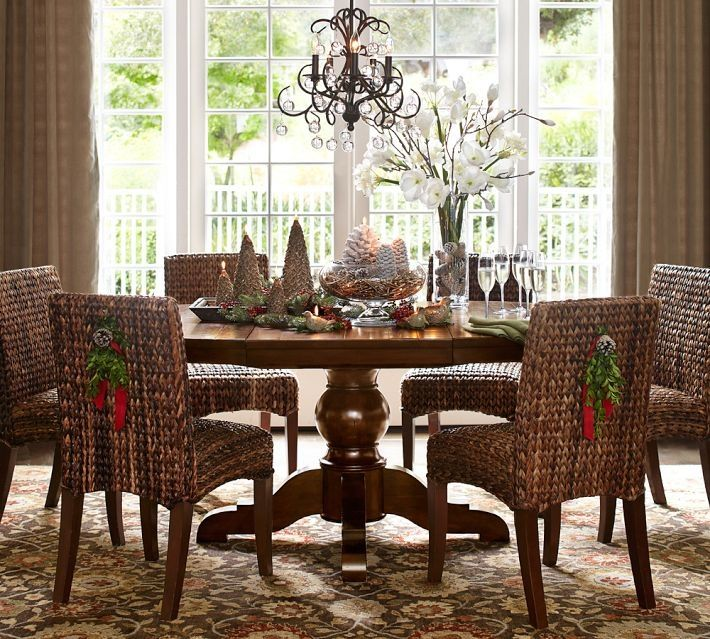 25 Creative Christmas Centerpiece Ideas 2013 Charming Decoration With Lovely Flower Vase And Pedestal Dining TableDining