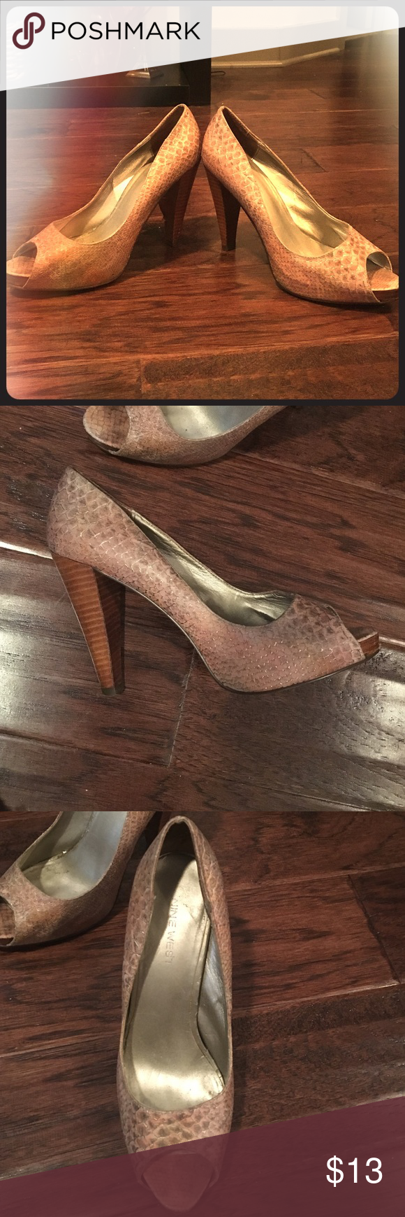 Blush Nine West peep-toe pumps Pumps are pre-owned. A little damage to the heel of the left foot but still wearable and cute. Nine West Shoes Heels