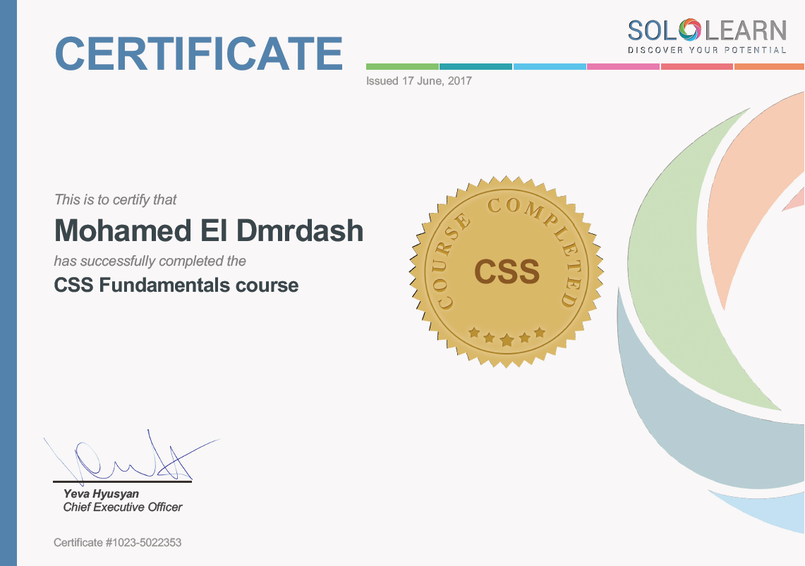 I got a certification of CSS   sololearn - programming school